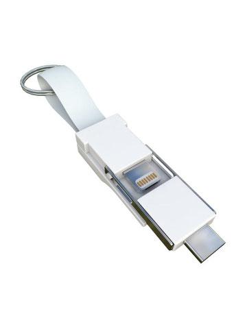 Smrter Colibri 3in1 Ladekabel für den Schlüsselbund weiß
