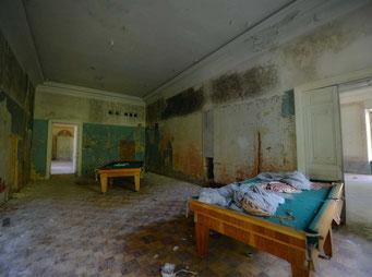 Это помещение служило в разные времена кинозалом, бильярдной и судя по виду, реставрации в нём не было.