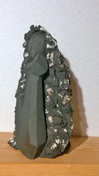 """""""La Pensive"""" Sculpture African Stone cuisson Noborigama H30cm """"Pièce Unique"""" -Juan José Ruiz dit """"Caco""""  Artiste Sculpteur/Auteur 500€"""