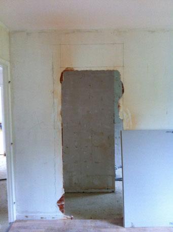 pendant les travaux : création d'une ouverture sur la chambre