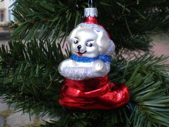 Weihnachtsschmuck aus Tschechien - Shuh mit Hund