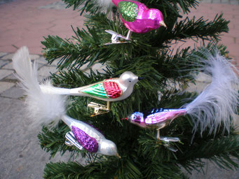 Weihnachtsschmuck aus Tschechien  - bunte Vögelchen