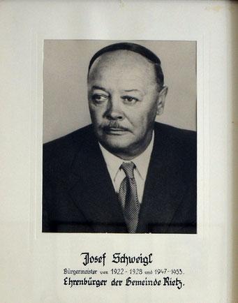 Josef Schweigl 1922 - 1928 und 1947 - 1953