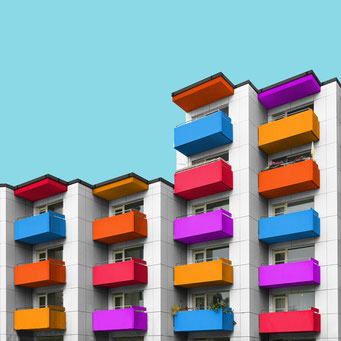 angular apartment building - berlin colorful facades modern architecture photography