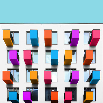 small buttons - Berlin colorful facades modern architecture photography