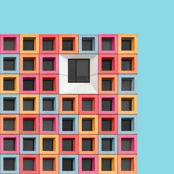 squares - den haag colorful facades modern architecture photography