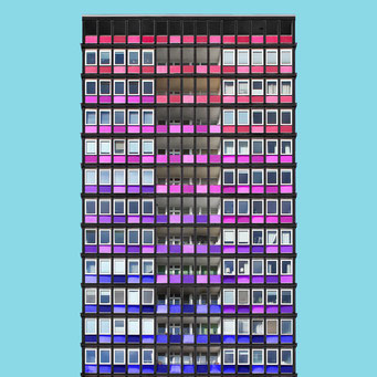 consistent grid  - Berlin colorful facades modern architecture photography