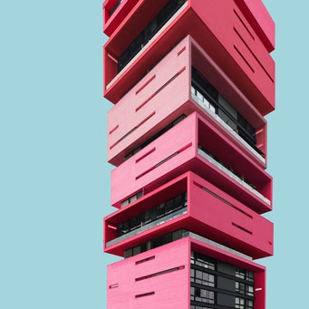 piled boxes - medellin colorful facades modern architecture photography
