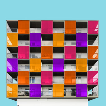 Check pattern - Salzburg colorful facades modern architecture photography