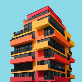angular building - Berlin colorful facades modern architecture photography