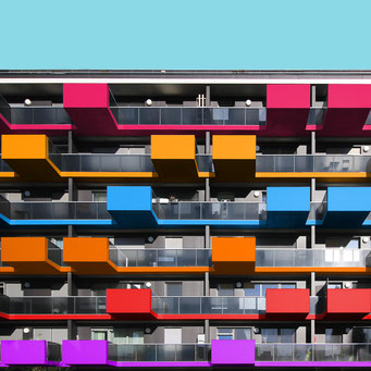 Balconies on lines - Vienna colorful facades modern architecture photography