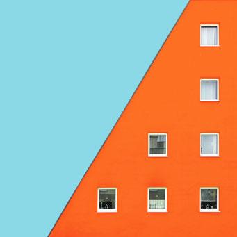 Orange - Linz colorful facades modern architecture photography