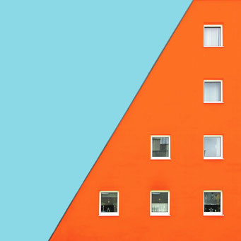 Orange - Linz colorful facades modern architecture photography