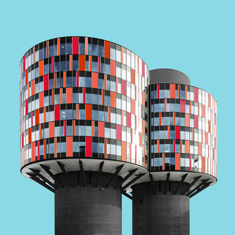 cylinders - copenhagen colorful facades modern architecture photography