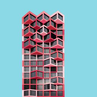 angular facade - Munich colorful facades modern architecture photography