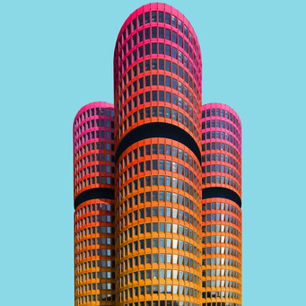 cylinders - Munich colorful facades modern architecture photography