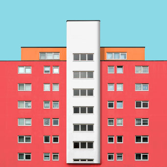 Perfect symmetry - Berlin colorful facades modern architecture photography