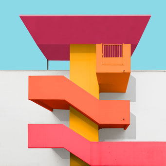 sculptural stairs - st. poelten colorful facades modern architecture photography