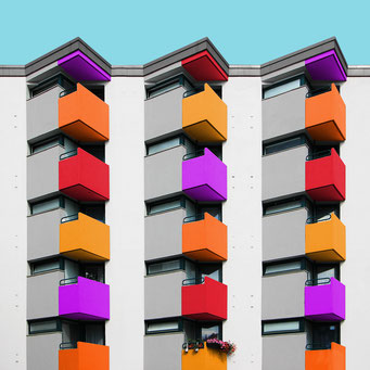 simply balconies - Berlin colorful facades modern architecture photography