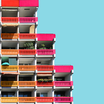 Levels - Linz colorful facades modern architecture photography