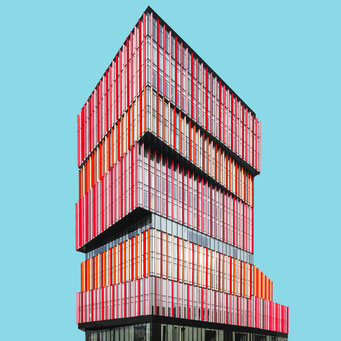 piled up - wroclaw colorful facades modern architecture photography
