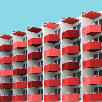 shades of red - berlin colorful facades modern architecture photography