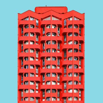 sculptural facade - wroclaw colorful facades modern architecture photography