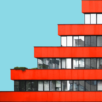red steps - Berlin colorful facades modern architecture photography