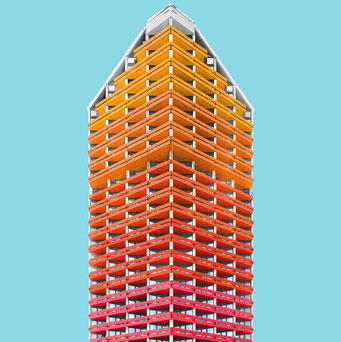 a high-rise - wroclaw colorful facades modern architecture photography