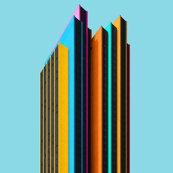 Layered high- rise - Hamburg colorful facades modern architecture photography