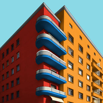 Basic forms & primary colors - Ljubljana colorful facades modern architecture photography