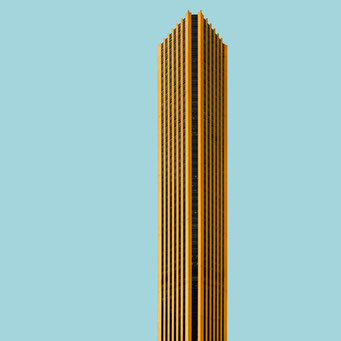 golden skyscraper - bogota colorful facades modern architecture photography