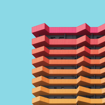 layered facade - Vienna colorful facades modern architecture photography