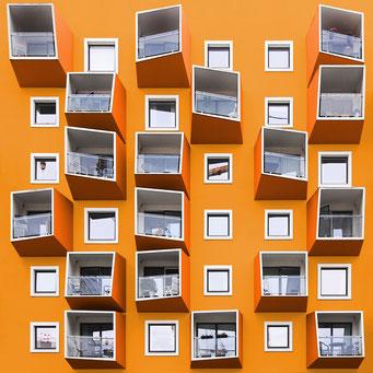 Crazy balconies - Copenhagen colorful facades modern architecture photography