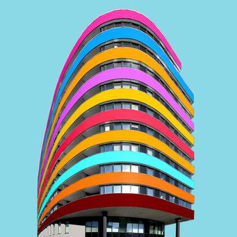 Parabolas - Vienna colorful facades modern architecture photography