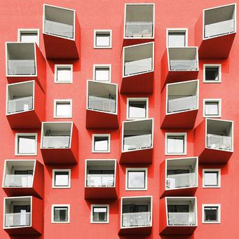 playful balconies  - Copenhagen colorful facades modern architecture photography