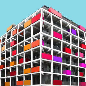 birdcage - vienna colorful facades modern architecture photography