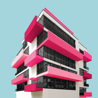 pink explosion - Berlin  colorful facades modern architecture photography