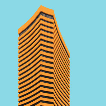 Slightly curved high-rise - Bogotá colorful facades modern architecture photography