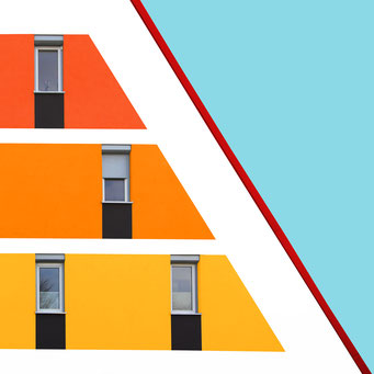Inclined plane colorful facades modern architecture photography