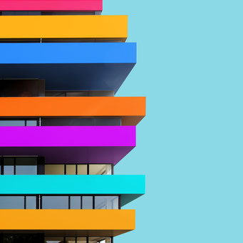 stacked up - Berlin colorful facades modern architecture photography