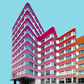 Wavy building - Berlin colorful facades modern architecture photography