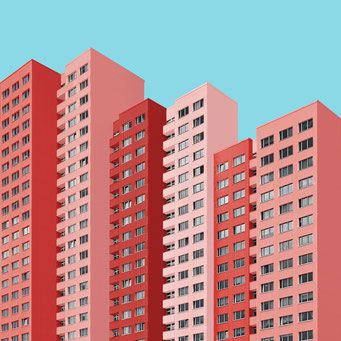 giant housing block - Berlin colorful facades modern architecture photography