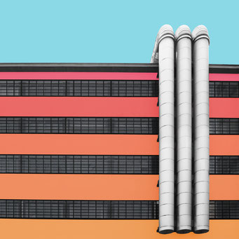 Three tubes - Linz colorful facades modern architecture photography