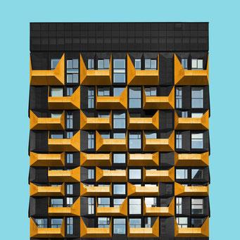 golden balconies - copenhagen colorful facades modern architecture photography