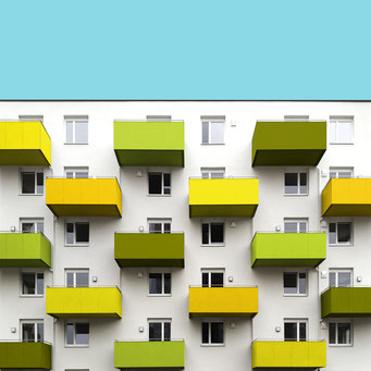 green balconies - Linz colorful facades modern architecture photography