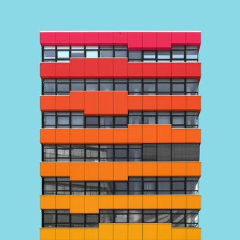rectangular facade - Vienna colorful facades modern architecture photography