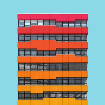 rectangular facade - Vienna colorful facades modern architecture photography
