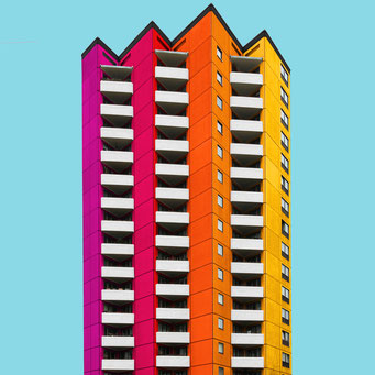 Jagged high- rise - Berlin colorful facades modern architecture photography