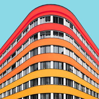 round corner - Ljubljana colorful facades modern architecture photography